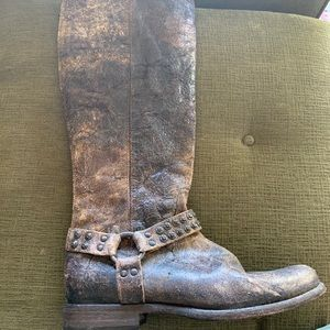 Brown distressed Frye tall boots
